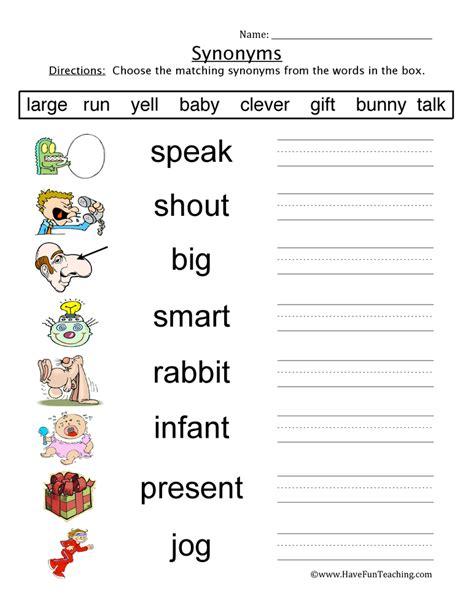 synonym worksheets teaching