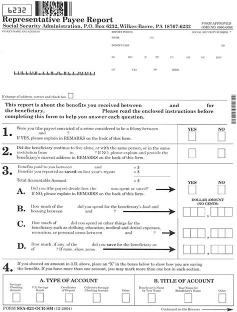 social security rep payee form ssa 11 appendix e current annual accounting form improving the