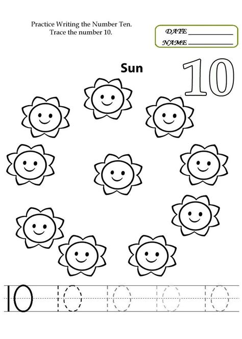number 10 worksheets to print worksheets printable 584 | 7595cae4c4636dc089e764695d493b9b