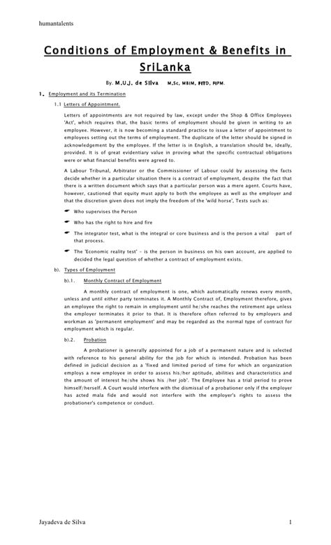 conditions  employment benefits  jayadeva de silva