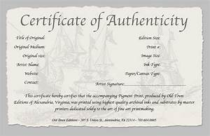 certificate of authenticity of a fine art print With certificates of authenticity templates