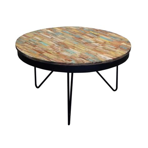 table basse industrielle bois metal coffee table in recycled wood sweet mango