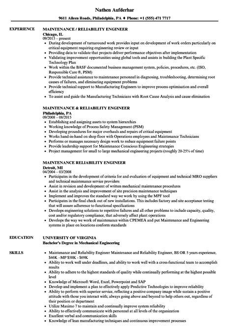 maintenance reliability engineer resume sles velvet