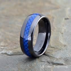 custom made wedding rings ceramic wedding band mens ring mens wedding bands custom made rings blue carbon fiber 8mm