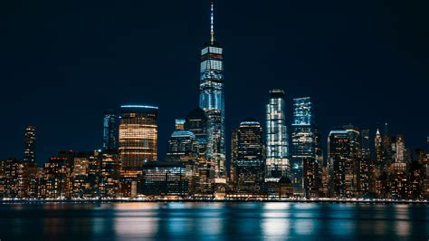 jersey city night cityscape   wallpapers hd