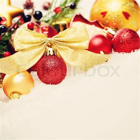 christmas background xmas red ball stock photo