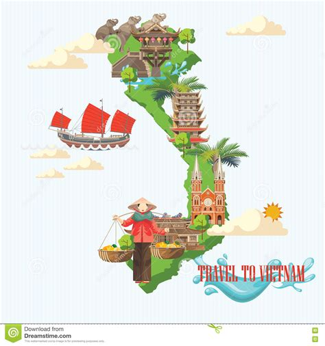 travel  vietnam poster  green vietnamese map stock