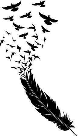 feather blowing birds flying wall art | Tatuajes de plumas