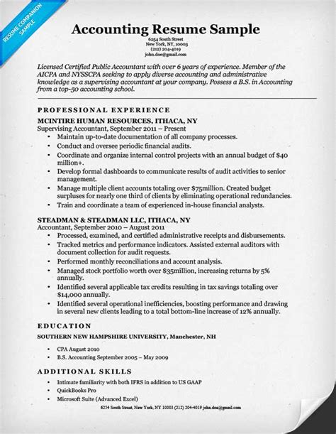 Accounting Resume by Accounting Cpa Resume Sle Resume Companion