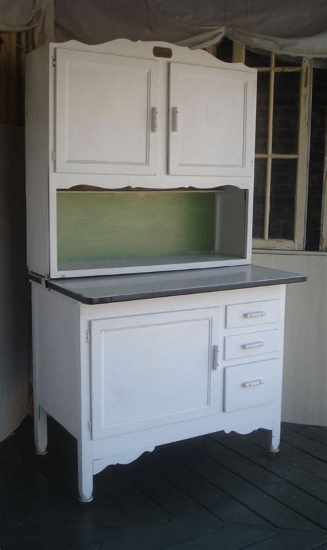 antique victorian  wood painted hoosier type kitchen