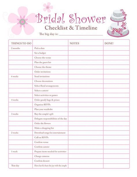 image result  bridal shower planning worksheet bridal