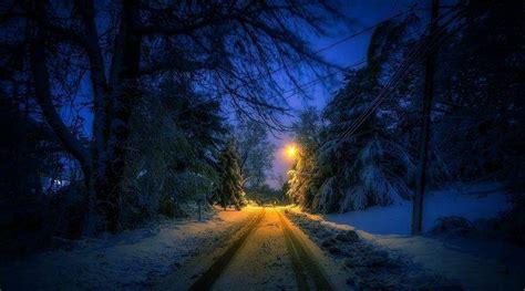 nature landscape winter street lantern snow trees