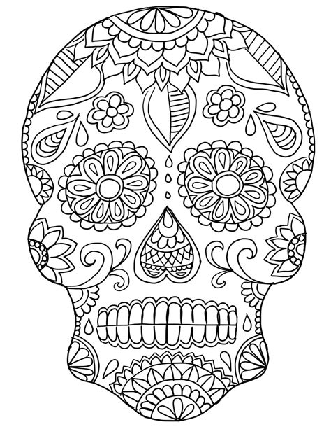 Day Of The Dead Skull Coloring Pages Coloringsuitecom