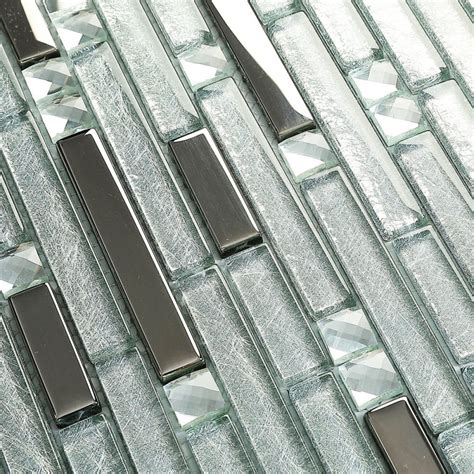 silver metal plated glass tiles  kitchen backsplash