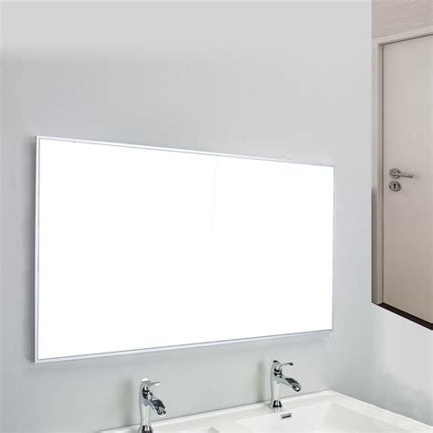 bathroom wall mirror eviva sax 48 quot brushed metal frame bathroom wall mirror