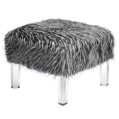 faux fur storage ottoman sechura grey faux fur ottoman