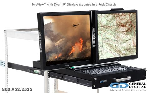 twoview military dual lcd monitors keyboard rack mount drawer general digital