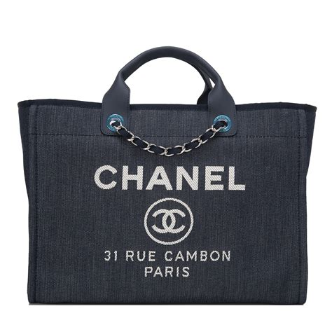 chanel dark blue denim large deauville shopping tote bag worlds