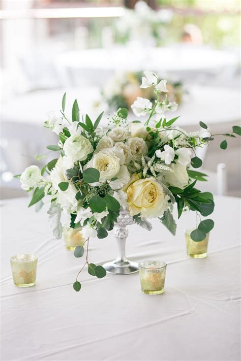 Silver Compote Vase Filled With Cream Hydrangeas Ivory