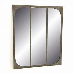 miroir industriel factory en fer forge deco vintage pour With miroir factory
