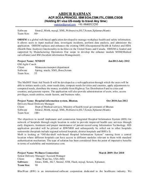 Agile Coach Resume Sle by Abdur Resume Agile Latest Aug15