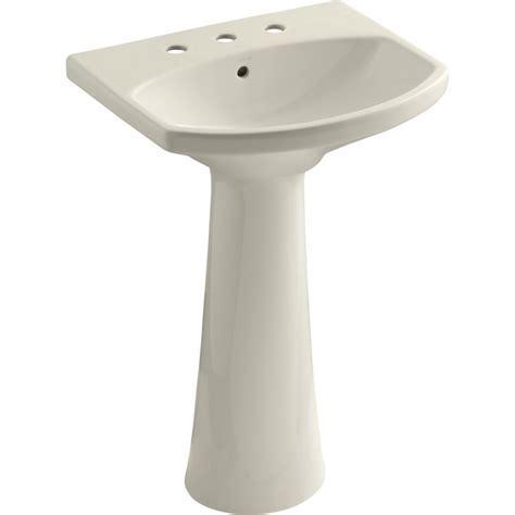 Kohler   K 2362 8 0 Cimarron White Pedestals Single Bowl