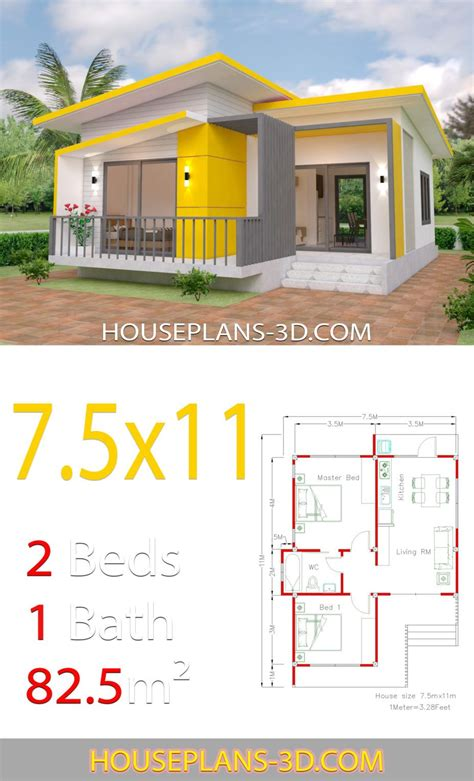House Plans 7 5x11 with 2 Bedrooms Full plans in 2020