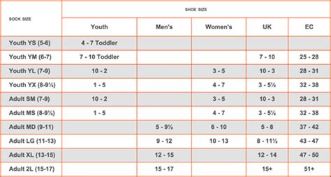 boys sock sizes chart asliaetherairco