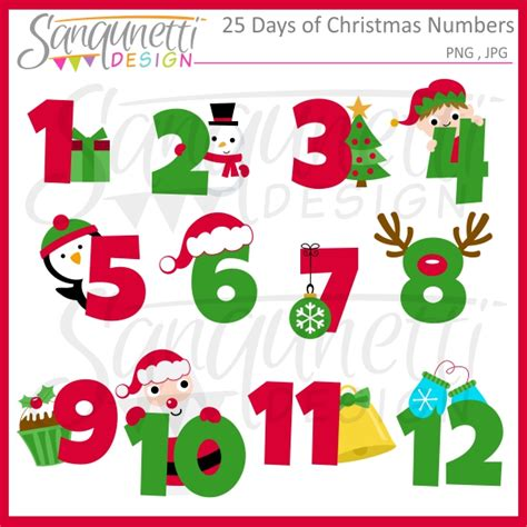 Sanqunetti Design 25 Days Of Christmas Numbers Clipart
