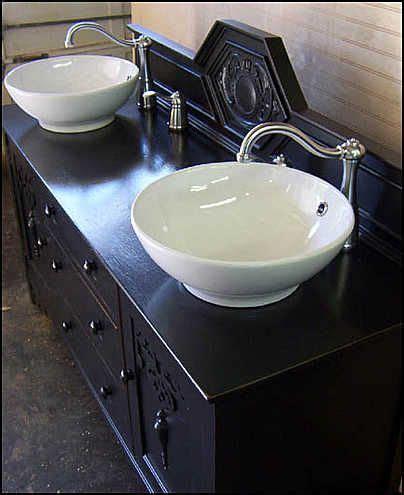 Vanity Bowl Sinks - photo of top view antique bathroom vanity black shabby
