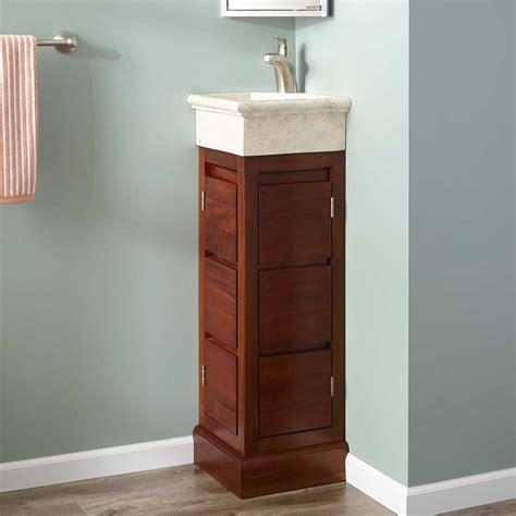 """12"""" Carina Mahogany Corner Vanity  Golden Mahogany Bathroom"""