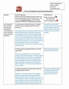 China Unit Big Ideas And Essential Questions