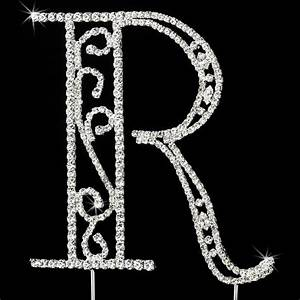 romanesque swarovski crystal wedding cake topper letter r With swarovski cake topper letters