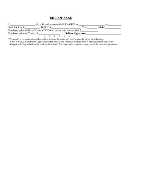 iowa bill  sale form  templates   word