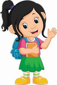 A Girl Going To School Clipart - ClipartXtras