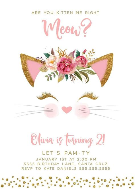 kitten birthday invitation invites digital cat pink