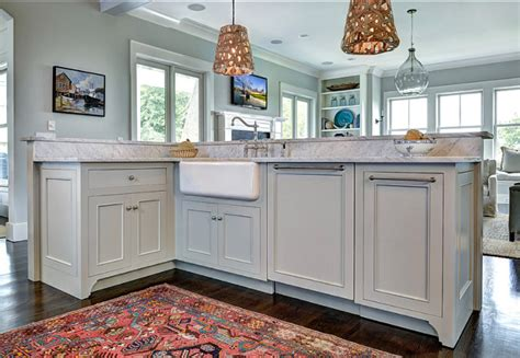 gray owl kitchen cabinets gray owl benjamin moore kitchen cabinets 235 | Kitchen Island Design. Island cabinet design. Kitchen island with gray cabinets apron sink and brushed nickel hardware. kitchen KitchenIsland Islandcabinet