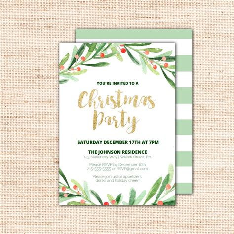 holly wreath printable christmas party invitation template