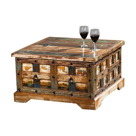 Couchtisch wohnzimmertisch sofatisch holz massiv vintage shabby loft retro desi. Couchtisch Truhe Delhi I Recyceltes Holz Shabby Chic Tisch ...