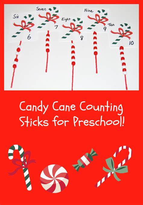 counting sticks in preschool the preschool 913   Candy Cane Counting Sticks for Preschoolers1