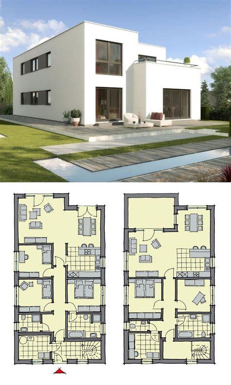 haus mit 2 wohnungen bauen zweifamilienhaus modern mit flachdach architektur