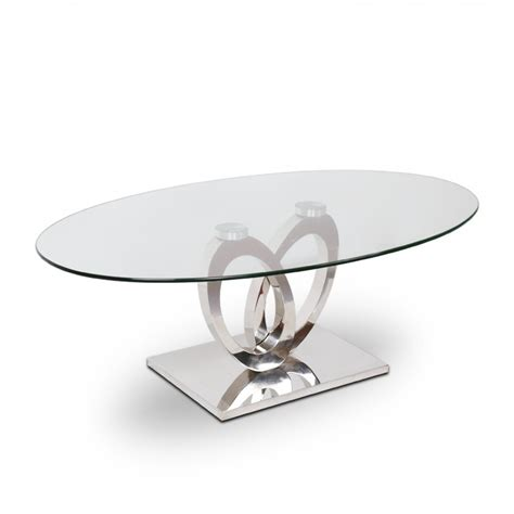 canapé 3 4 places table basse inox et verre ellipse