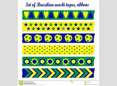 Set Of Washi Tapes, Ribbons In Brazilian Colors Stock