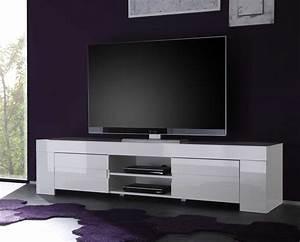 Meuble Blanc Pas Cher : meuble tv blanc laqu pas cher meuble tv bois massif ~ Dailycaller-alerts.com Idées de Décoration