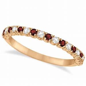 Garnet Diamond Wedding Band Anniversary Ring 14k Rose
