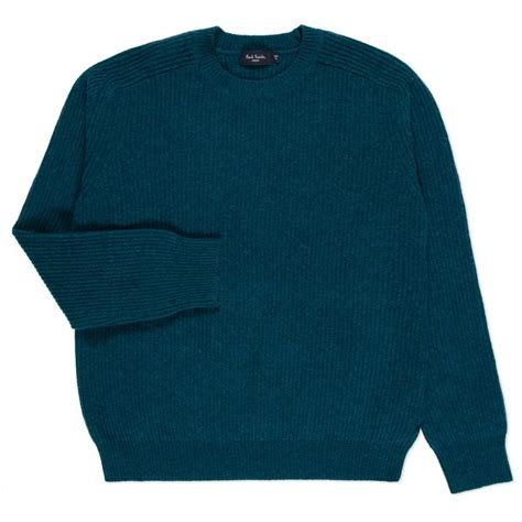 blue sweater paul smith 39 s teal merino wool ribbed sweater in blue