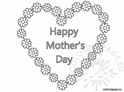 Mothers Coloring Happy Heart Pages Flowers Mother