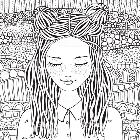 leuk meisje boek kleurplaat voor volwassenen en kinderen zwartwit doodle stijl stockvectorkunst
