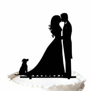 China Bride and Groom Couple Kissing with Dog Silhouette ...