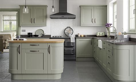 green shaker style kitchen kensington 4039